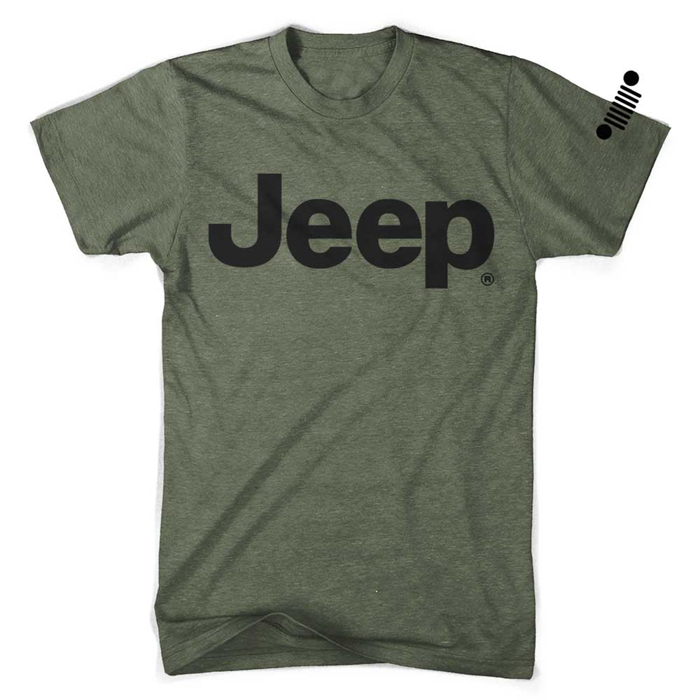 Mens Jeep® Text T-Shirt - Triblend Military Green