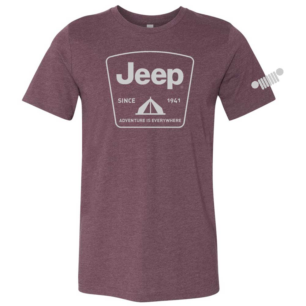 Mens Jeep® Tent Badge T-Shirt - Heather Burgundy