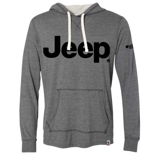Mens Jeep® Text Triblend Hooded Pullover - Triblend Grey