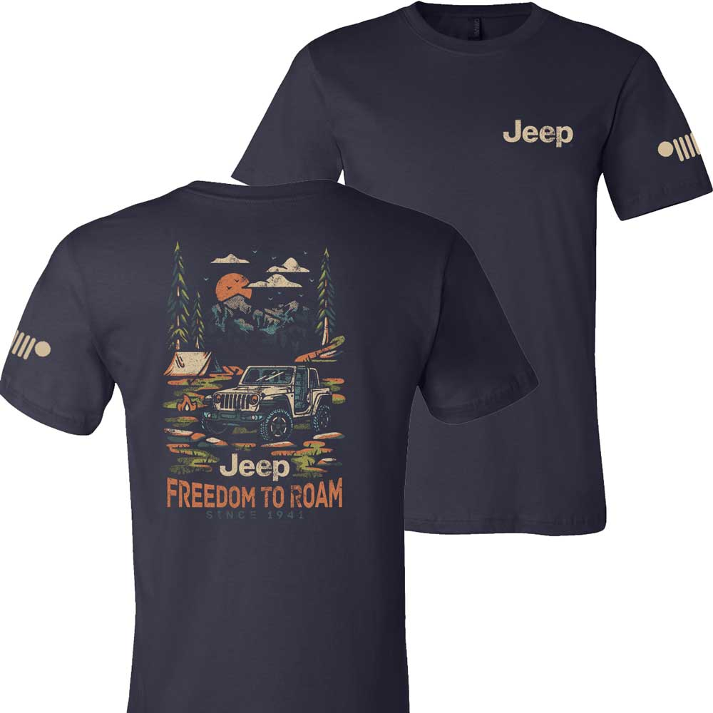 Mens Jeep® Freedom To Roam T-Shirt - Navy Blue
