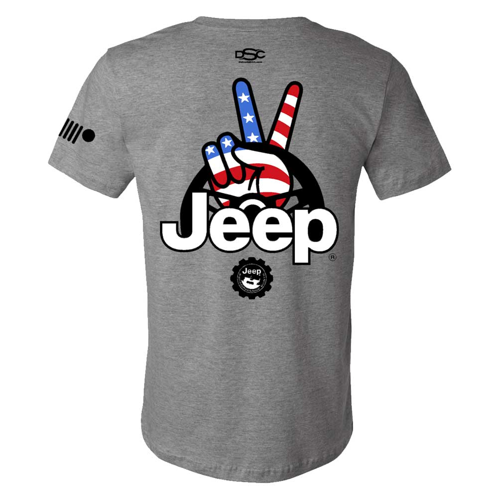 Mens Jeep® Wave USA T-Shirt - Heather Grey