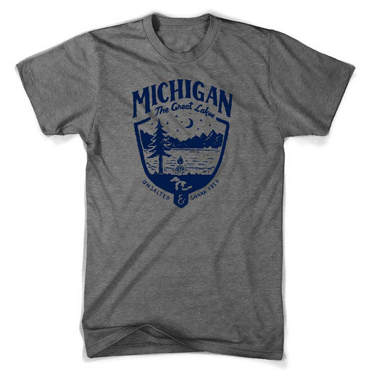 Mens Triblend Michigan Shield T-shirt (Grey) | Detroit Shirt Co.