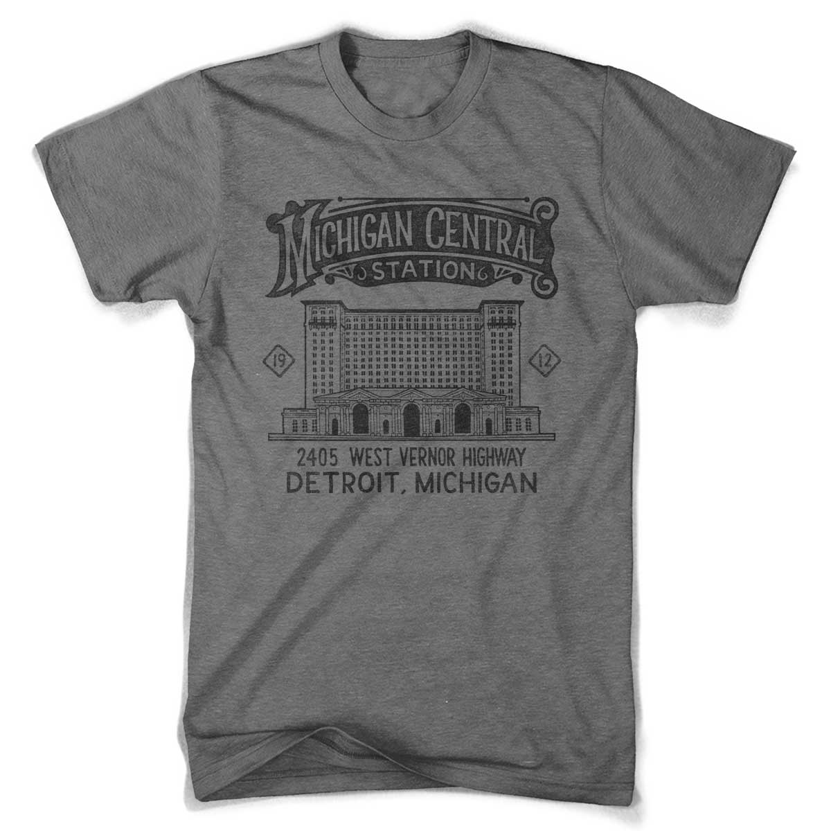 Mens Michigan Central Station 2 T-shirt (Grey)