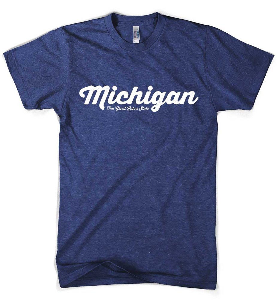 Mens Triblend Michigan Script T-shirt (Indigo)