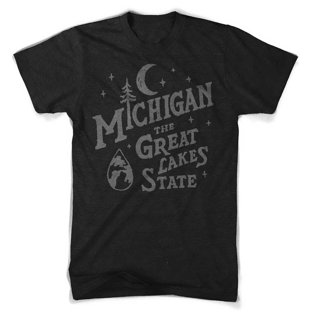 Mens Michigan Vintage Font T-Shirt (Heather Black) | Detroit Shirt Co.