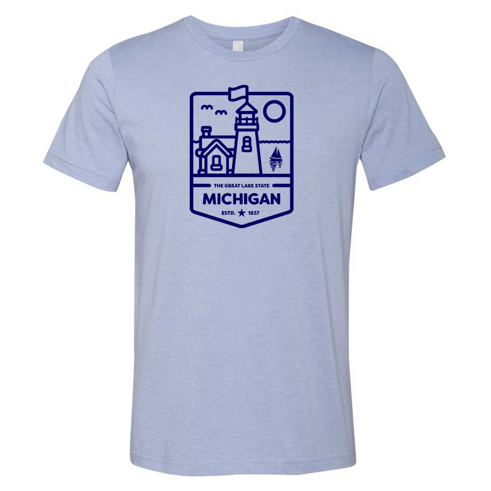 Mens Michigan Lighthouse T-shirt (Heather Lake Blue)