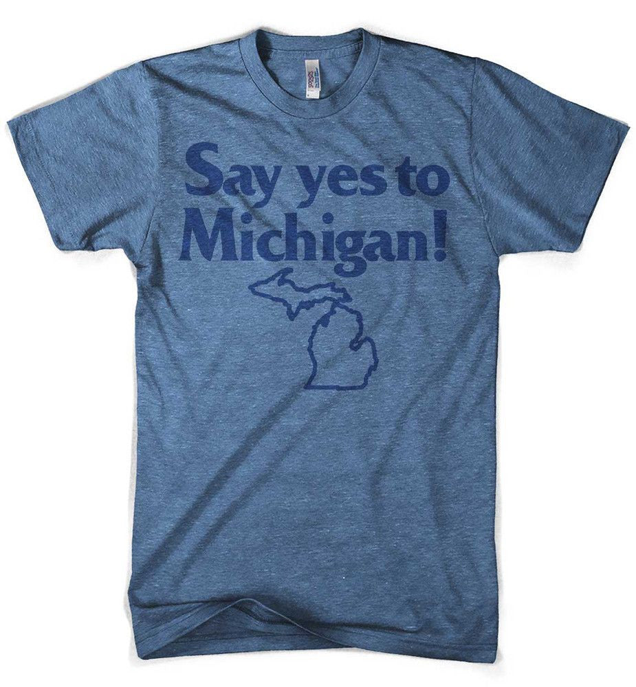 Mens Say Yes to Michigan T-shirt (Heather Blue) | Detroit Shirt Co.