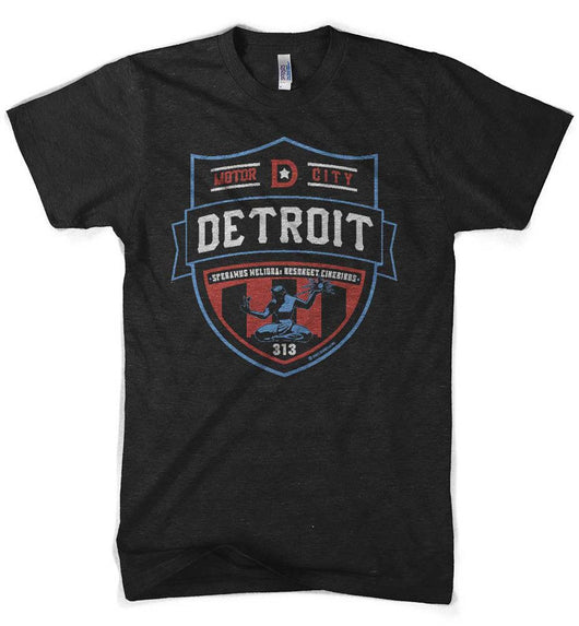 Mens Detroit Shield RWB T-shirt (Heather Black) | Detroit Shirt Co.