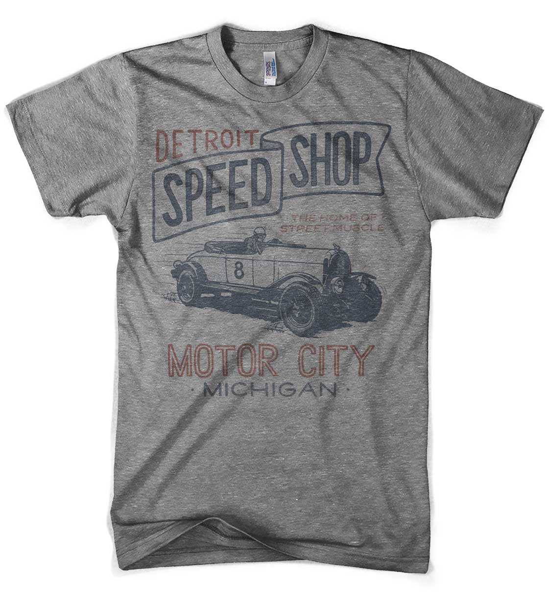 Mens Triblend Vintage Detroit Speed Shop T-shirt (Grey) | Detroit Shirt Co.