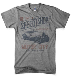 Mens Vintage Detroit Speed Shop - Triblend Grey-Mens-Detroit Shirt Company