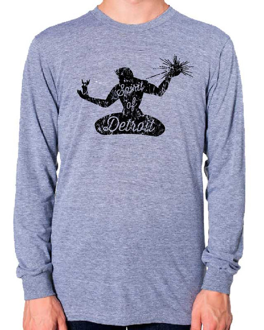 Mens Triblend Detroit Spirit 2 Long Sleeve T-shirt (Grey)