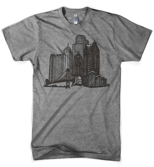 Mens Triblend Detroit Stand Tall T-shirt (Grey) | Detroit Shirt Co.