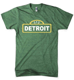 Mens Detroit Street Sign - Heather Kelly Green