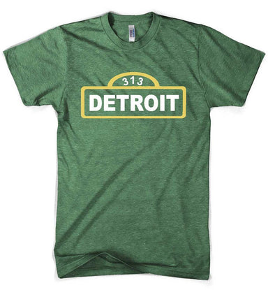 Mens Detroit Street Sign T-shirt (Heather Kelly Green) | Detroit Shirt Co.