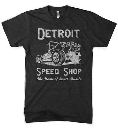 Mens Detroit Speed Shop Tubber T-shirt (Heather Black) | Detroit Shirt Co.