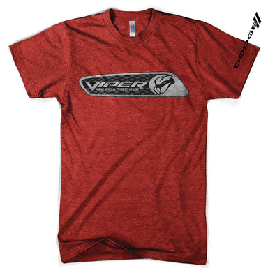 Mens Dodge Viper Dash Plaque T-shirt (Heather Red) | Detroit Shirt Co.