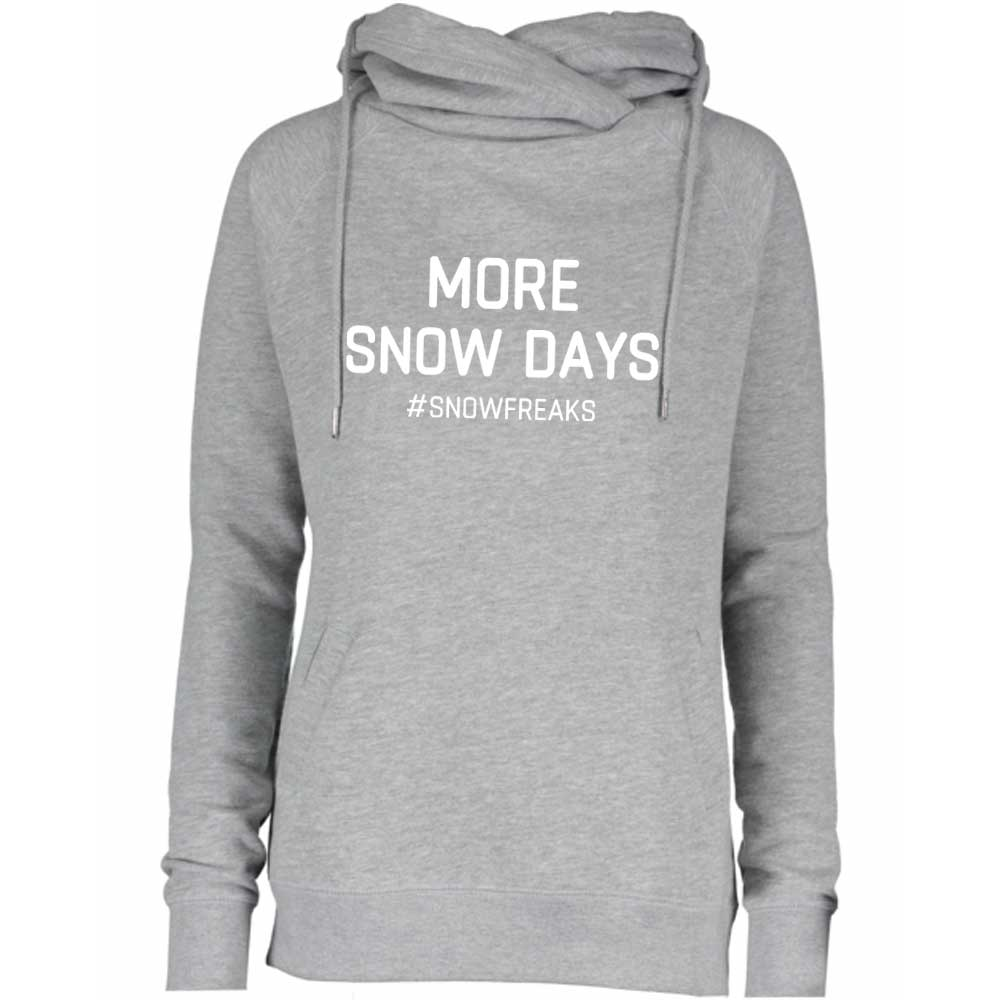 "SnowFreaks ""More Snow Days"" Ladies Fleece Funnel Neck Hoodie - Athletic Grey"