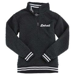 Ladies Detroit Thirsty Script Sherpa 1/4 zip (Charcoal)