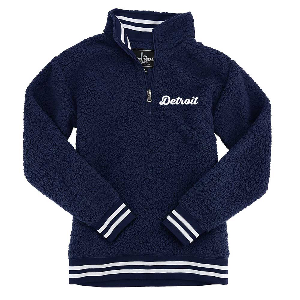 Ladies Detroit Thirsty Script Sherpa 1/4 zip (Navy Blue)