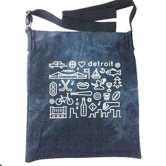 Detroit Tote Bag - denim bag with Detroit icons printed in white on tie dye