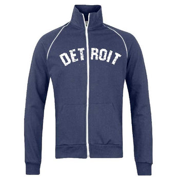 navy blue Fleece sweatshirt full zip Detroit Bend Track Jacket - Navy-Jacket-Detroit Shirt Company Detroit Shirt tshirt t-shirt and accessories Company