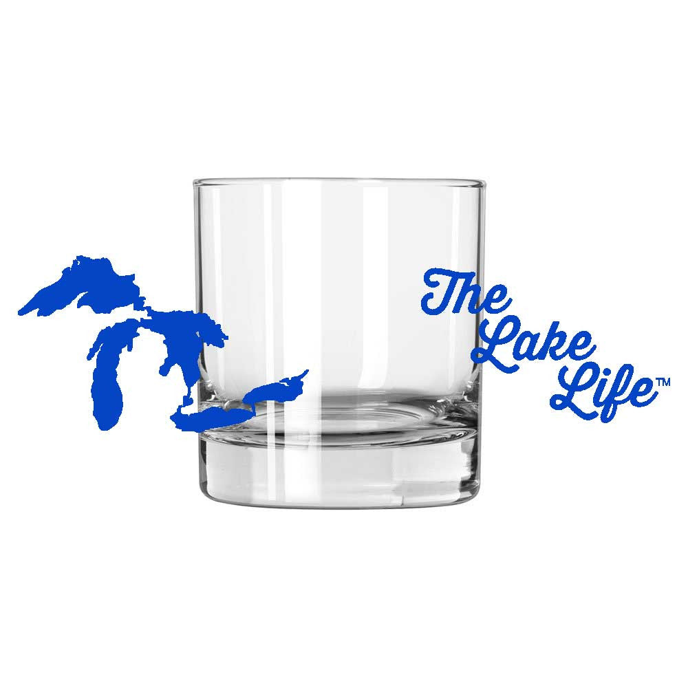Whiskey Glass - Michigan The Lake Life-Glassware-Detroit Shirt Company