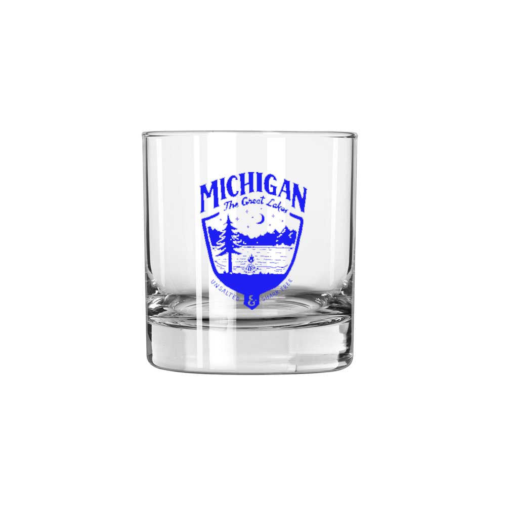 Whiskey Glass - Michigan Shield-Glassware-Detroit Shirt Company