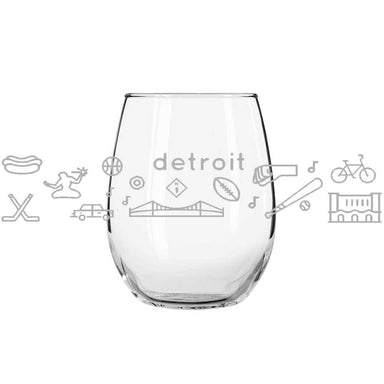 Wine Glass - Detroit Icons-Glassware-Detroit Shirt Company