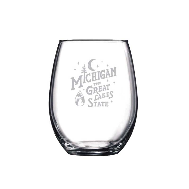 Wine Glass - Michigan Vintage Font