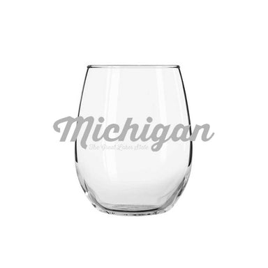 Wine Glass - Michigan Script-Glassware-Detroit Shirt Company