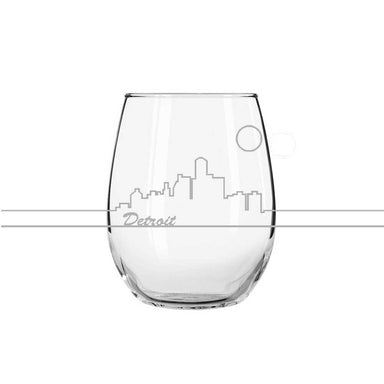 Wine Glass - Detroit Skyline-Glassware-Detroit Shirt Company