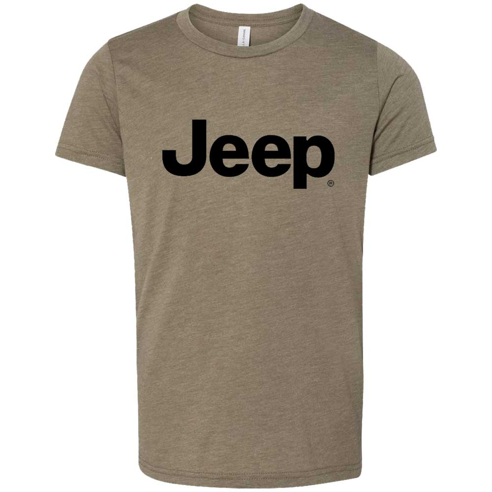 Youth - Jeep Text - Triblend Military Green