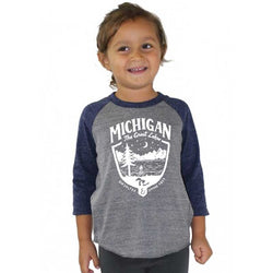 Youth - Michigan Shield Triblend 3/4 Sleeve Baseball T-shirt