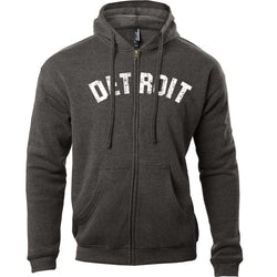 Detroit Bend Zip Hoodie Sweatshirt - Heather Black