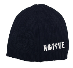 Hat - Michigan Native Knit with flower - Black