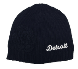 Hat - Detroit Thirsty Knit with flower - Black