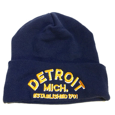Beanie Hat MAde in USA Detroit Arch Flip Knit Navy Hats Detroit Shirt tshirt t-shirt and accessories Company