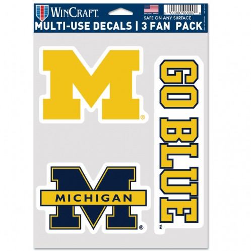 "Michigan Wolverines - 5.5""x7"" 3 Decal Pack"