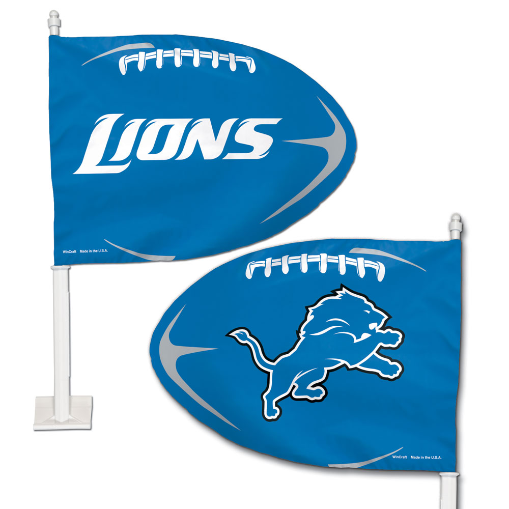 Detroit Lions - Football Shaped Car Flag