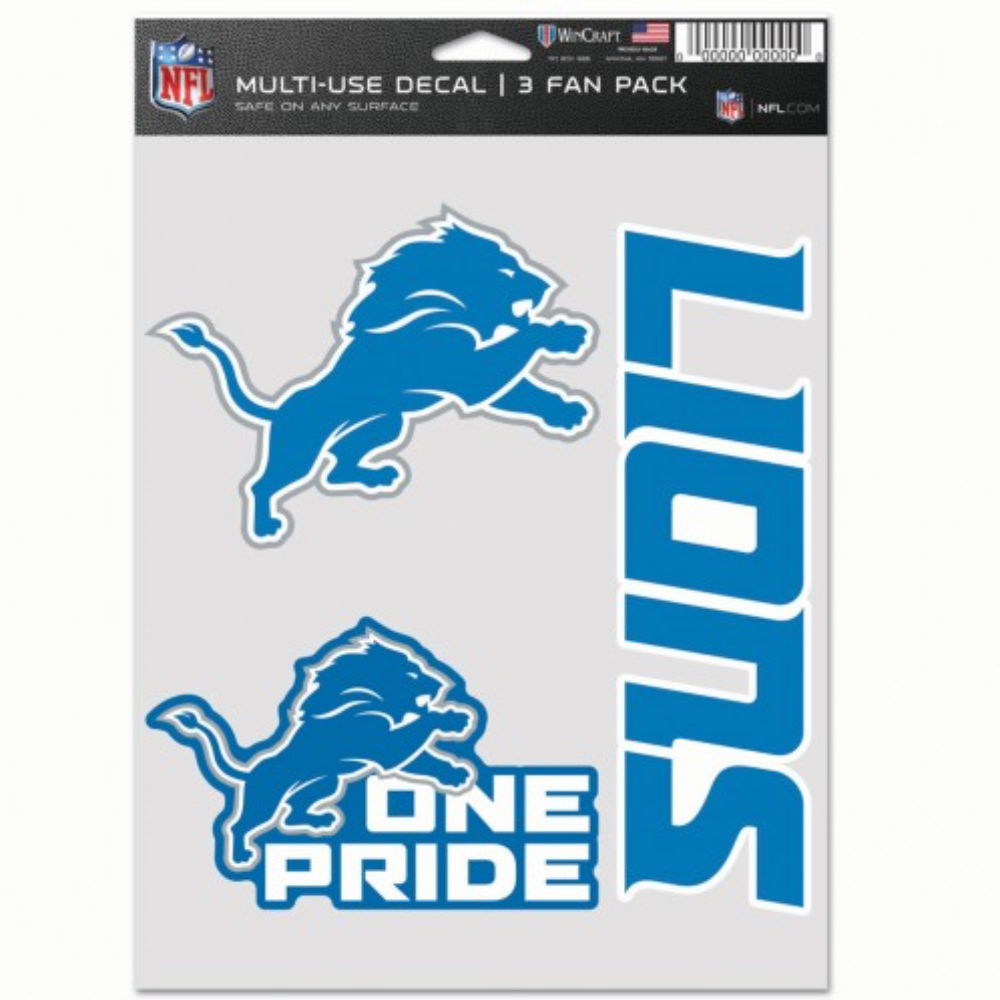 "Detroit Lions - 5.5""x7"" 3 Decal Pack"