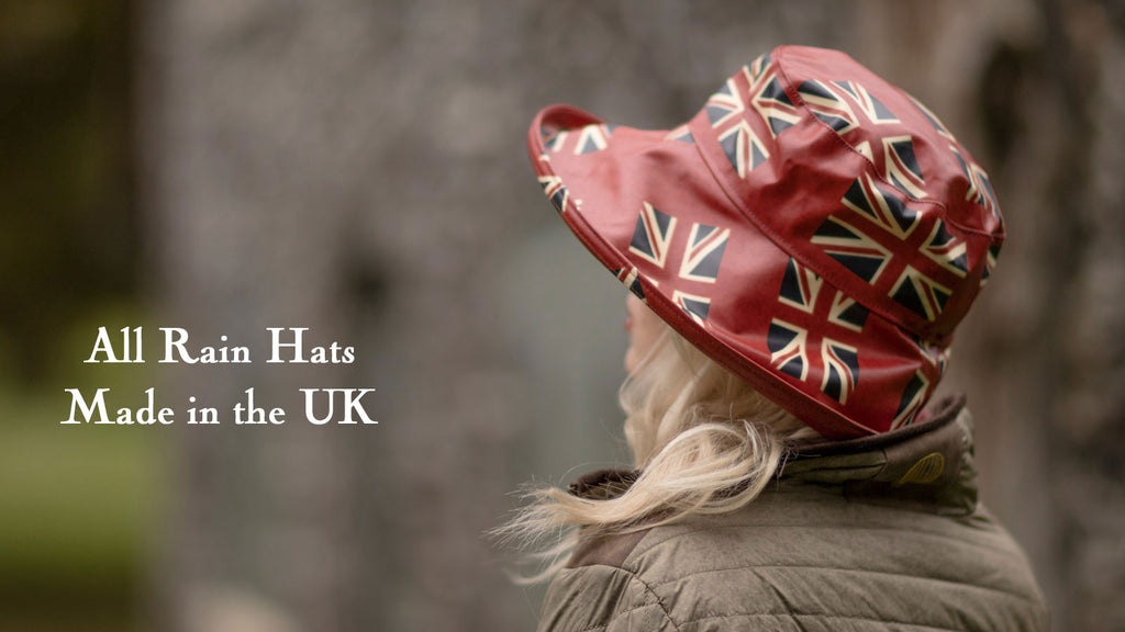 Bradleys Tannery Jules Waxed Union Jack Rain Hat on Woman Side Profile
