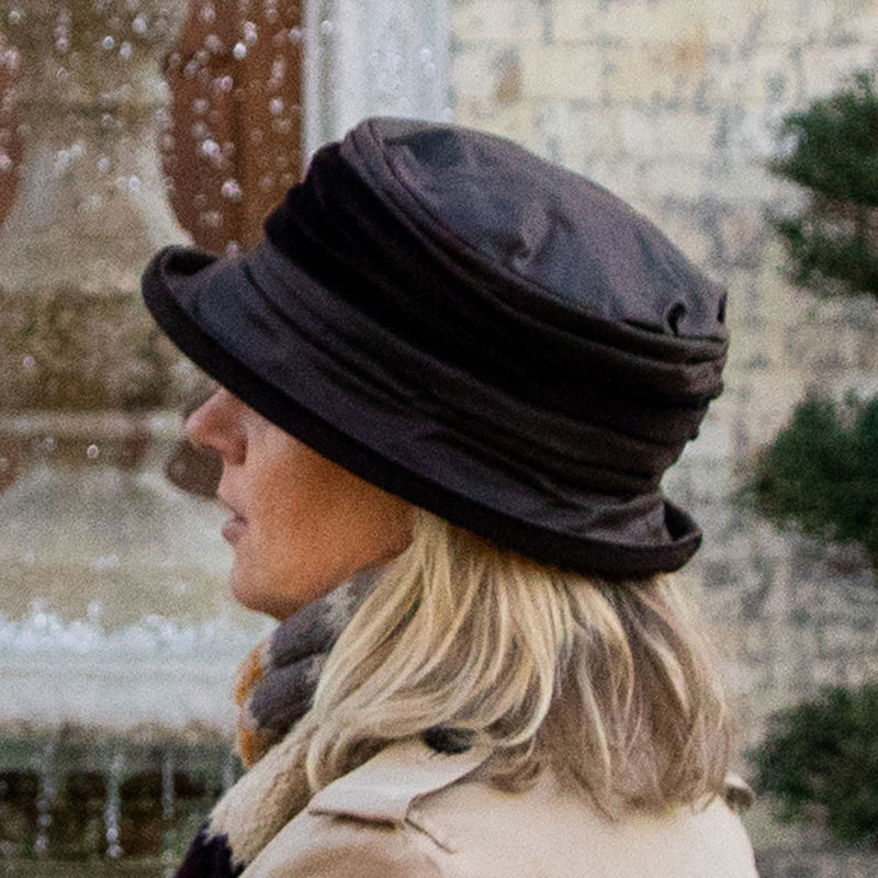olney headwear victoria ladies brown waterproof hat with brown velvet trim on brim and mid crown on woman