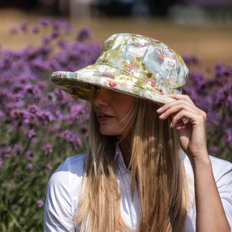 ladies linen abstract design sun hat made by bradley tannery