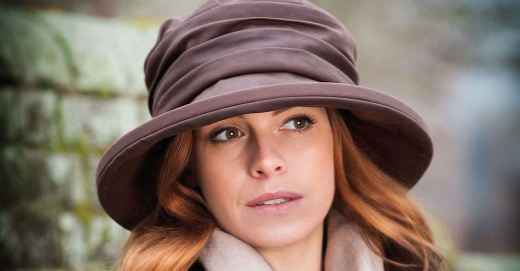 olney headwear annabel ladies brown waxed waterproof hat on woman