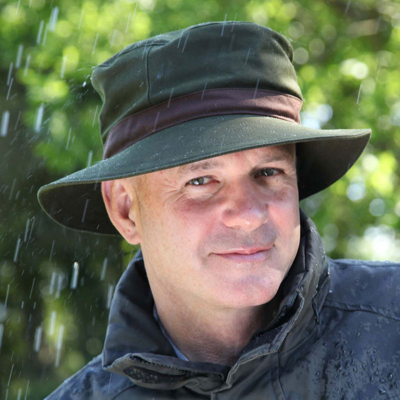 Olney wax spey mens olive greenrain hat from Rain Hat Collection