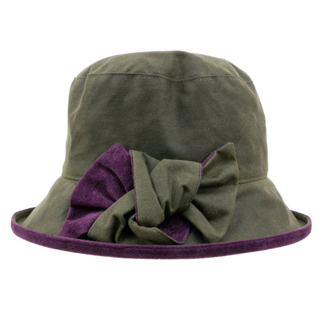 Peak And Brim Zara Green And Blackcurrant Wax Ladies Rain Hat