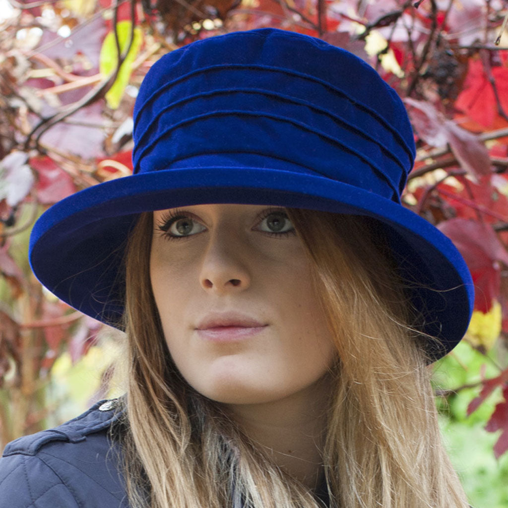 Proppa Toppa Gemma PT11 Navy Rain Hat On Woman