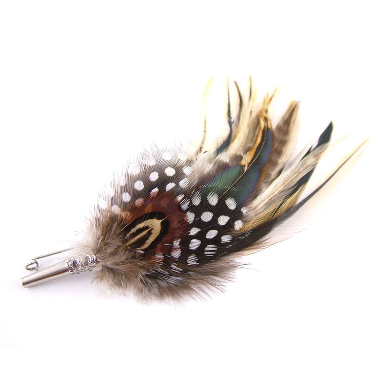 Feather-hat-pin-with-badger-hackle-with-guinea-fowl-pheasant-feathers