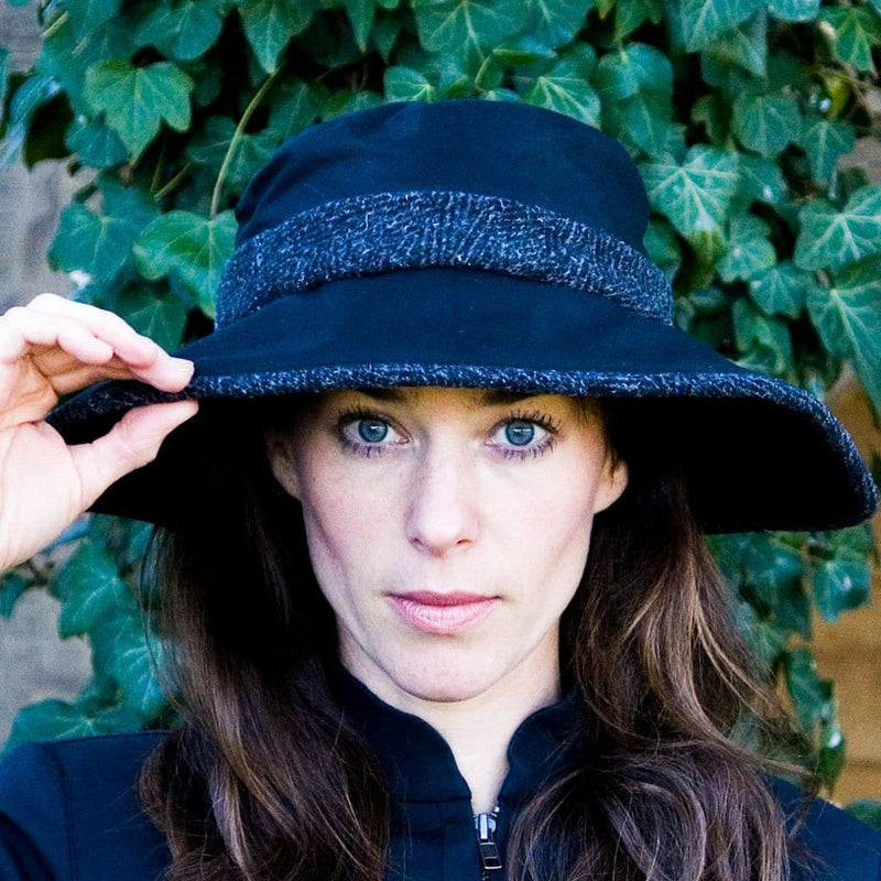 Olney Headwear Naomi Black Ladies Wax Rain Hat With Black Tweed Band And Trim