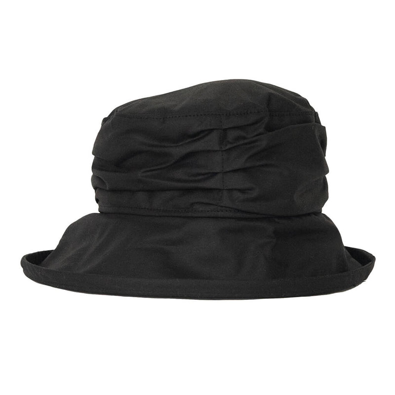 ladies black waxed rain hat